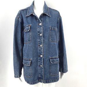 VTG BILL BLASS Jacket M Denim Jean Barn Coat